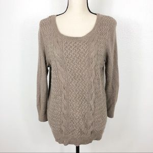 Ann Taylor LOFT 3/4 sleeve cable knit sweater